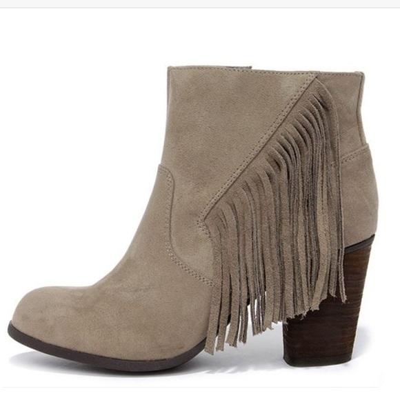 b2a8fe449222 Madden Girl Shoes - MADDEN GIRL DESCENT TAUPE FRINGE ANKLE BOOT
